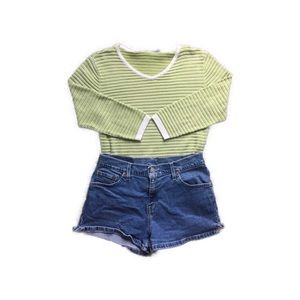 VINTAGE LIME GREEN STRIPED TOP!!!